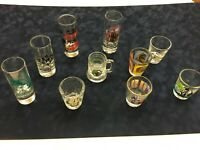 Collection of 10 Vintage Shot Glasses, South Carolina Beaches, no chips/cracks