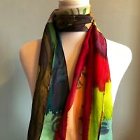 Vintage Handpainted Silk Scarf Portraits Faces Multi-Colored Abstract Unique