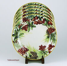 Set of 2 Dinner Plates, SUPERB Condition! Williams Sonoma, Botanical Wreath