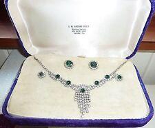 Vintage Juliana Crystal Emerald  Necklace Earring Set