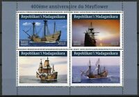 Madagascar Ships Stamps 2019 MNH Mayflower 400 Years Boats Nautical 4v M/S