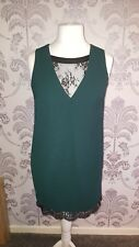 Next Ladies Bottle Green Dress With Black Lace Underlay - UK 12 Petite - BNWT!