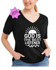 Womans plus size God is the best listener Christian shirt top vneck