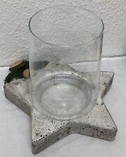 Deko Windlicht Kerzenhalter STERN Zement / Glas grau Weihnachten 32 cm