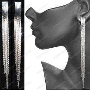 CLIP ON 12cm long EARRINGS liquid silver fashion SNAKE CHAIN CLIPS slinky
