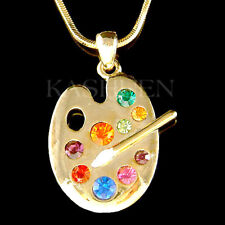Rainbow Color Paint Palette made with Swarovski Crystal Artist Brush GT Necklace
