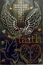 Wings, Faith  Iron-On Rhinestones & Studs Appliques 1 Sheet  Silver & Gold NIP