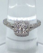 14k White Gold Flower Halo Antique Round Diamonds Skinny Shank Engagement  Ring
