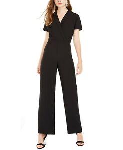 City Studios Juniors' Lapel Wrap DRESSY Jumpsuit, Black, Size 1, $59, NwT