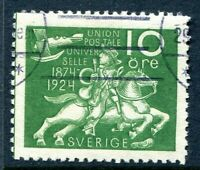 SWEDEN 1924. THE SCARCE UPU 10o GREEN, SG162a WITH WAVY LINE WATERMARK. VFU: