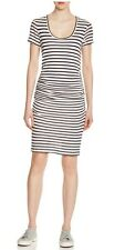 VELVET BY GRAHAM & SPENCER Striped Ruched T-Shirt Dress XS Navy/Ivory  $128
