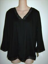 Mirasol Black V Neck Rayon Top Shirt Blouse Flower Embroidery Medium New NWT