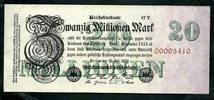 Germany (P97b) 20 Millionen Mark 1923 aUNC