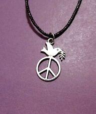 Dove Peace Sign Pendant Adjustable Necklace