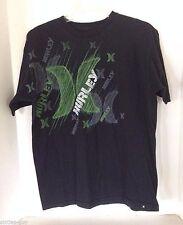 Hurley Black T-shirt Medium M Regular Fit Green Logo