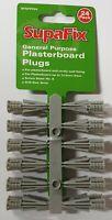 24 Plasterboard & Cavity Wall Rawl Plug Fixing Screw Size 8 Drill 6mm Grey