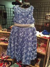 NWT Girls Rare Editions Blue Leaves Dress Holiday size 6X
