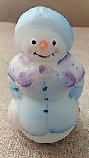 Fenton Snowlady Snowman Lavender Blue Figurine Glitter Christmas Gift Shop