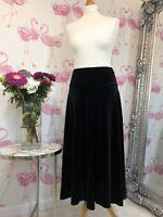 NEW £49 Monsoon Black Velvet Gothic Vamp Steampunk Heavy Midi Skirt Medium 12