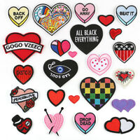 Heart DIY Embroidered Sew Iron On Badge Patches Clothing Fabric Applique Crafts