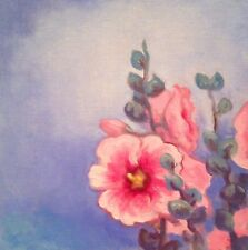 Hollyhocks Oil Painting Art Flower Still Life In Original Realism Southwest Pink