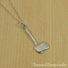 925 Sterling Silver Axe Hatchet Necklace - Lumberjack Wood Chopping Jewelry NEW