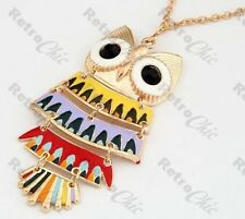 RETRO multi BIG ARTICULATED OWL pendant LONG NECKLACE gold 70s vintage style