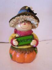Welcome Scarecrow Crow Pumpkin Thanksgiving Autumn Figurine Decoration Halloween