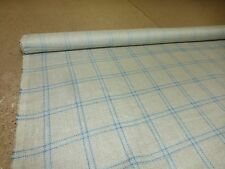 1m - Linwood Fabrics - Checked Linen Blend Upholstery Fabric (Stockbridge Sky)