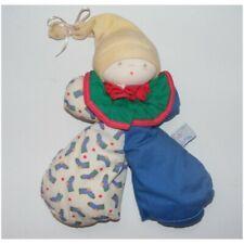 Ancien Doudou lutin clown bleu vert chaussettes MOULIN ROTY - Clown Classique