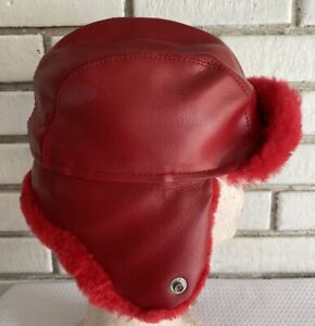 Vtge Child's Red Faux Leather Trooper Hat Snap Up Ear Muffs Flaps Hunting USA