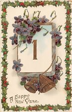 Gilded Old Gelatin New Year PC of Jan 1 Calendar Page, Bells, & Violets-Holly