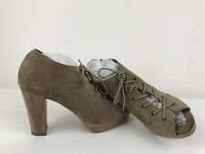 Moda In Pelle Suede Leather Cuban Heel Lace Up Peep Toe Heels Ankle Boots Khaki5