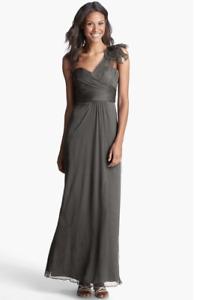 NEW Amasle Illusion Shoulder Crinkled Silk Chiffon Dress (SIze 12) Gray $310