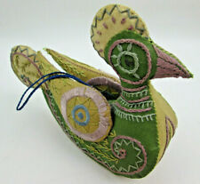 Vintage Handmade Chicken Rooster Hanging Folk Art Stuffed Fabric Ornament 6 by 4