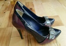 ALDO Black Purple Wetlook Leather High Heel Smart Pumps Court Shoes 3 36
