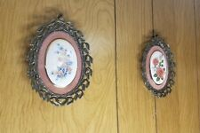 Matching Pair Vintage Oval Decorative Floral Wall Pictures with Brass-look.