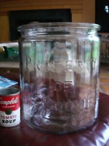 """HUGE Antique GLASS Counter DISPLAY JAR """"PROPERTY OF DAD'S COOKIE COMPANY"""" 11 LBS"""