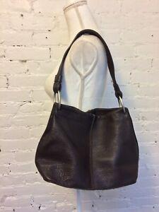 Talbots pebbled leather shoulder bag hobo brown