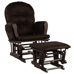 Baby Nursery Relax Rocker Rocking Chair Glider & Ottoman Set w/ Cushion Brown