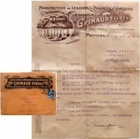 Enveloppe courrier 1924 Grimaud frères Poitiers manufacture Lessives Chimie prix