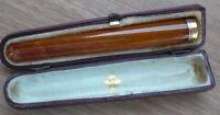 "EDWARDIAN 9CT. GOLD & AMBER BOXED CIGAR HOLDER 4"" BIRMINGHAM 1911"