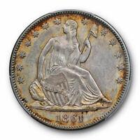 1861 50C Seated Liberty Half Dollar PCGS MS 62 Uncirculated Civil War Date Ce...