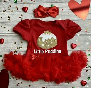 LITTLE PUDDING CHRISTMAS OUTFIT, Baby Girl's Christmas Pudding Tutu Romper Gift