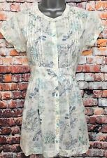 WHITE STUFF 12 Vgc Cream Floral Long Pleat Front Short Sleeve Blouse Tunic Top