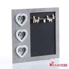 LAVAGNA Lavagnetta Memo Board 3 PORTAFOTO Cuore cm.39 Legno casa cucina Shabby
