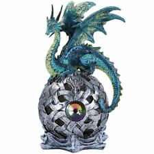 LED Green Dragon On Ball Quality Resin Figurine Medieval Home Decor Lights-Up
