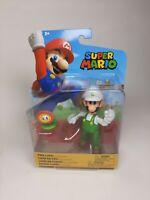 "Super Mario 4"" Action Figure Luigi with Fire Flower Nintendo Jakks Pacific"