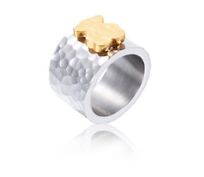 High Quality Stainless steel Gold Plated 3 Colors Cartoon Bear Ring Anti Allergy