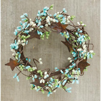 """Pip Berry Off White Cream Candle Ring Wreath Ivory  3.5/"""" ~ 4/"""" opening rust star"""